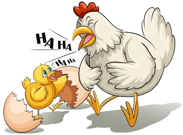Une poule et un poussin