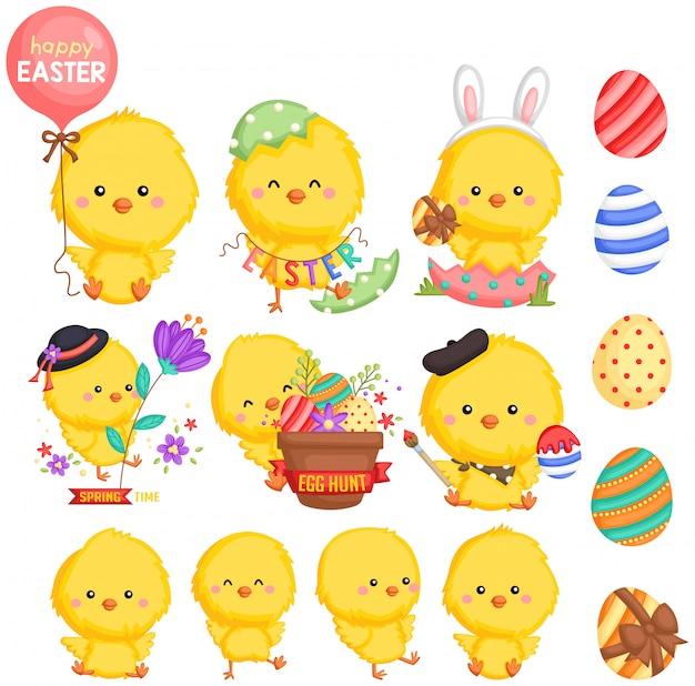 Un poulet au thème de pâques avec de nombreuses poses