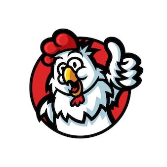 Poulet coq dessin animé donnant un coup de pouce logo