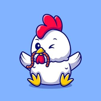 Poulet coq mignon mangeant le personnage de dessin animé de ver. nature animale isolée.