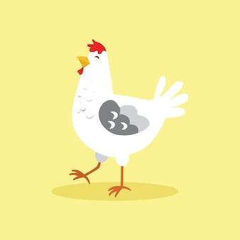 Poulet de dessin animé mignon, oiseau, animaux illustrations