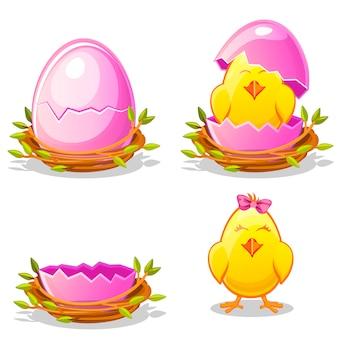 Poulet drôle de dessin animé et oeuf rose dans un nid