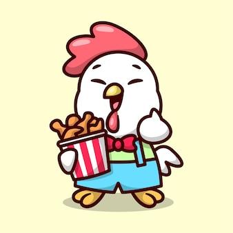 Poulet drôle avec uniform apporte un seau de poulet frit et une mascotte souriante de haute qualité