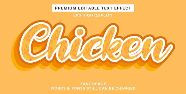 Poulet à effet de texte modifiable