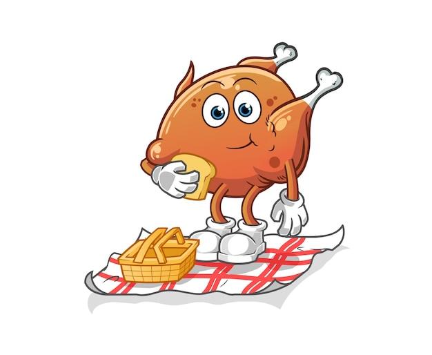 Le poulet frit sur un dessin animé de pique-nique. vecteur de mascotte de dessin animé