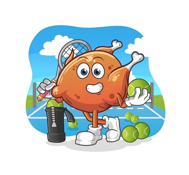 Le poulet frit joue au tennis