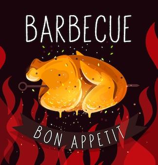 Poulet frit nourriture savoureuse. barbecue. bon appétit