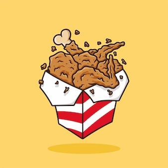 Poulet frit sur le vecteur de dessin animé de boîte de wok