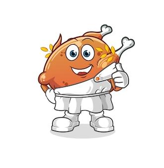 Le poulet frit avec des vêtements grecs. mascotte de dessin animé