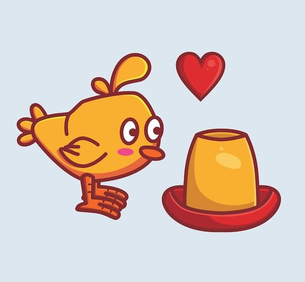Poulet mignon curieux avec la nourriture. dessin animé animal isolé style plat autocollant web design icône illustration premium vector logo mascotte personnage