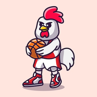 Poulet mignon jouant au basket-ball illustration