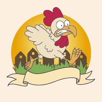 Poulet nourriture logo entreprise vecteur orange vilage herbe poulet en cours d'exécution