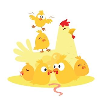 Poulet et poulet de dessin animé mignon, la mère et l'enfant.