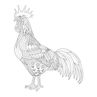 Poulet stylisé pour cahier de coloriage pour adulte