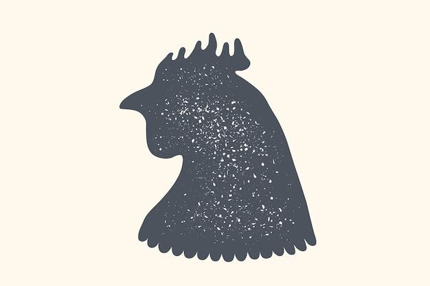 Poulet, volaille. logo vintage, impression rétro, silhouette de poulet ou de poule.