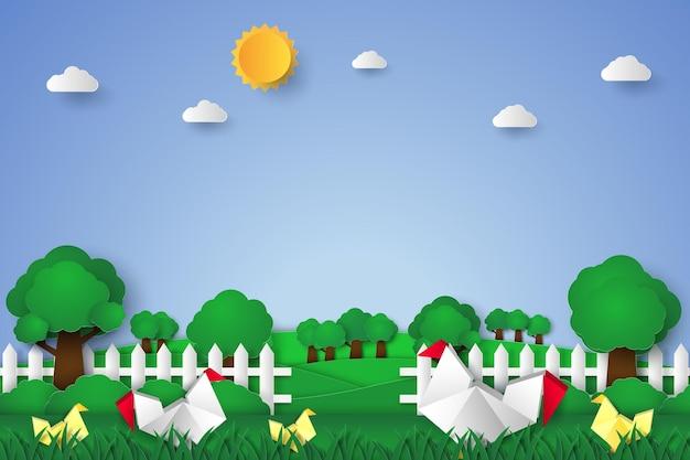 Poulets dans le jardin dans un style art papier