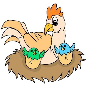 Des poulets heureux avec des poussins nouveau-nés, doodle dessiner kawaii. illustration