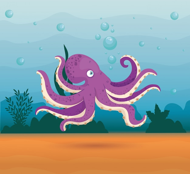 Poulpe animal marin dans l'océan, habitant du monde marin, jolie créature sous-marine, habitat marin