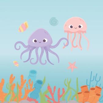 Poulpe méduses étoiles de mer vie récif de corail dessin animé sous la mer