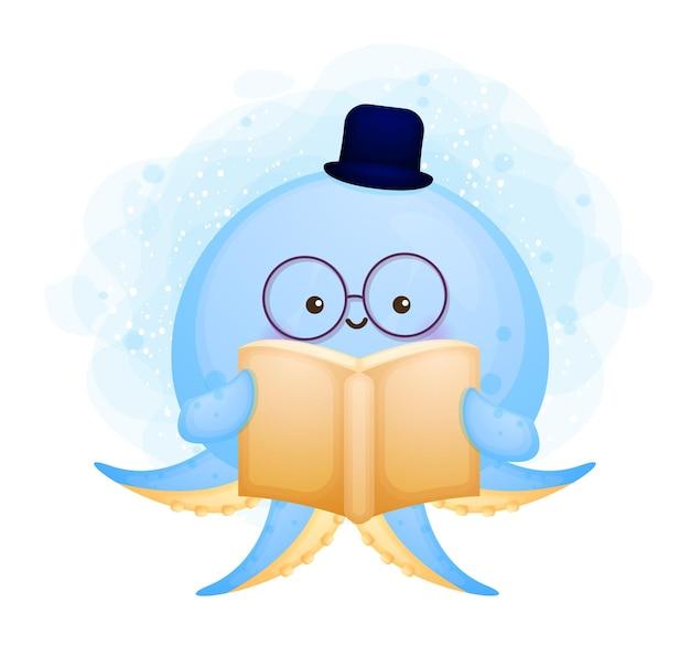 Poulpe mignon doodle lire un personnage de dessin animé de livre