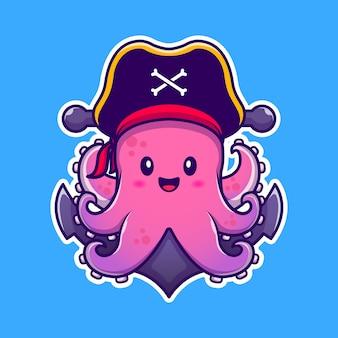 Poulpe de pirate mignon avec illustration d'icône de dessin animé d'ancre. animal pirate icon concept premium. style de bande dessinée