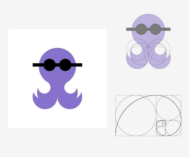 Poulpe de vecteur dans le style du nombre d'or. illustration modifiable