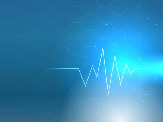 Pouls ou battement de coeur avec effet de lumière sur fond de motif hexagonal.