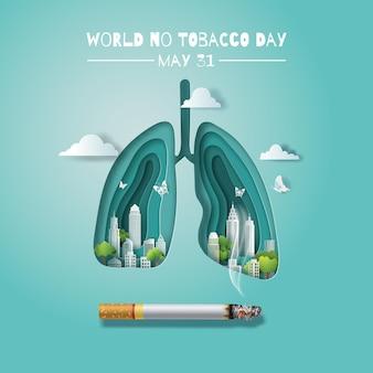 Poumon de la journée mondiale sans tabac avec une ville et une cigarette