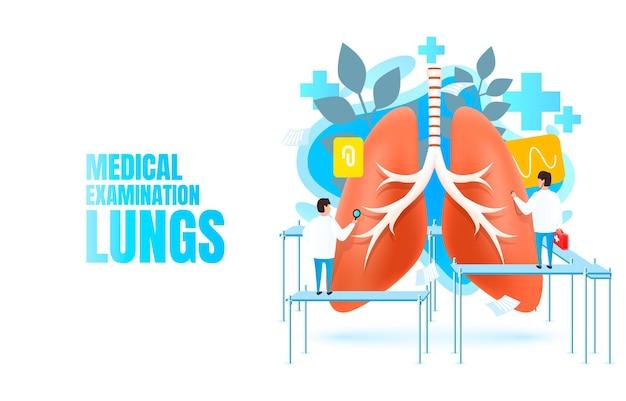 Poumons de bannière d'examen médical, traitement alternatif, organe d'anatomie biologique, aide de service