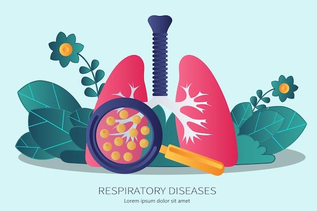 Poumons humains avec main tenant une loupe montrant les virus et les bactéries