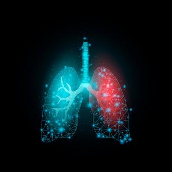 Poumons, low poly brillant. résumé moderne futuriste. isolé sur fond sombre. illustration vectorielle.