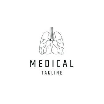 Poumons sains logo médical icône modèle de conception illustration vectorielle plane