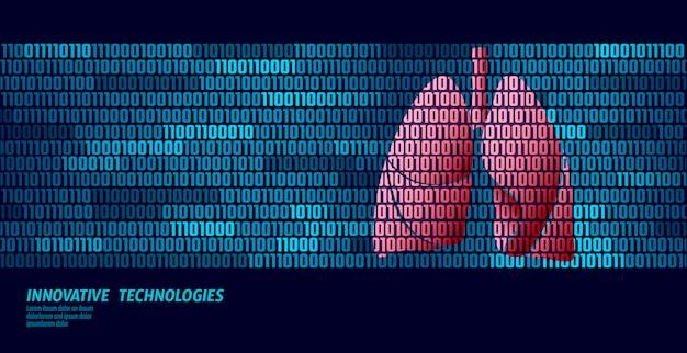 Poumons sains organes respiratoires internes. flux de données de code binaire.