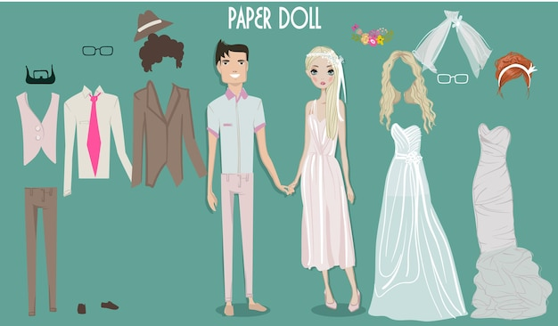 Poupée de fille de mariée de vecteur de dessin animé avec des vêtements pour les changements