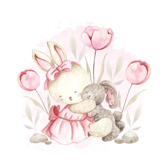 Poupée de jeu de lapin mignon aquarelle
