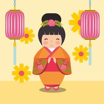 Poupée kokeshi japonaise en kimono