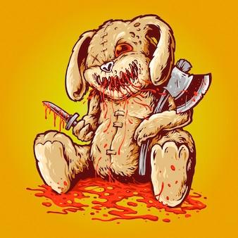 Poupée de lapin sanglant effrayant portant un ampli de hache et un poignard