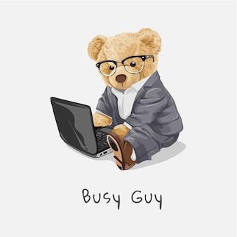 Poupée d'ours dans des verres travaillant sur l'illustration d'un ordinateur portable