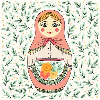 Poupée russe avec des feuilles