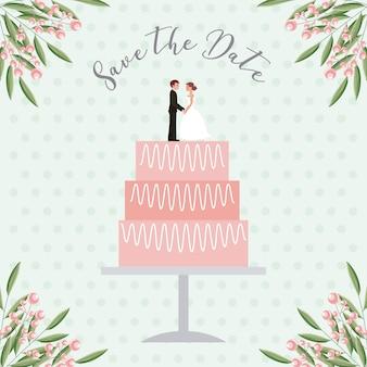 Les poupées de la mariée et le marié dans le gâteau de mariage sauvent la carte de date