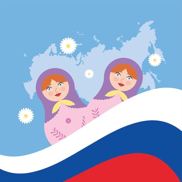 Poupées matriochka russes avec drapeau