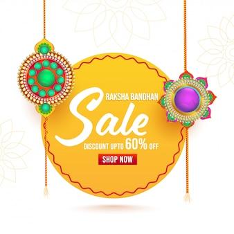 Pour affiche de vente raksha bandhan avec rakhis décoratifs (bracelets).