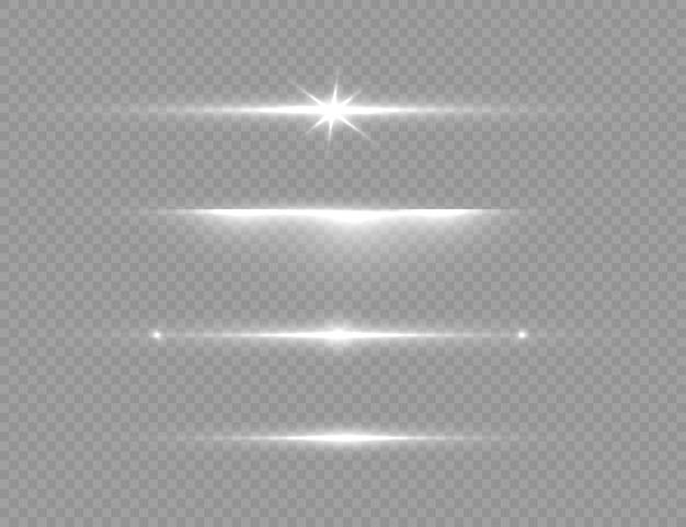 Pour centrer un flash lumineux soleil brillant transparent flash lumineux la lumière rougeoyante blanche explose sur un fond transparent des particules de poussière magiques scintillantes le vecteur d'étoile brillante scintille