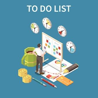 Pour faire le concept de liste avec date limite et symboles de temps libre isométrique