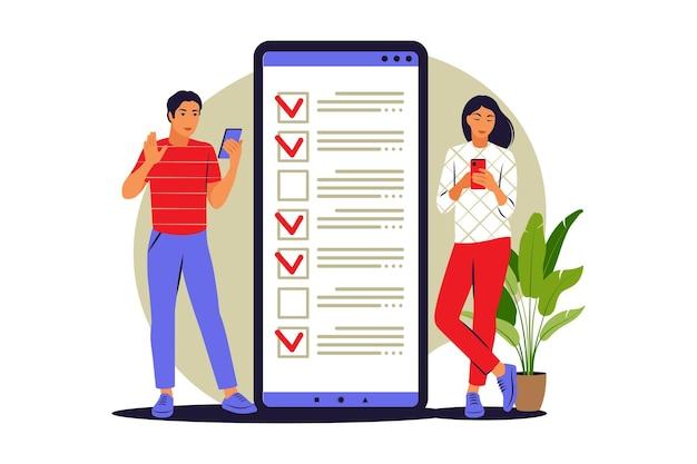 Pour faire le concept de liste. les gens se tiennent près d'une grande liste de choses à faire au téléphone. illustration vectorielle. appartement.