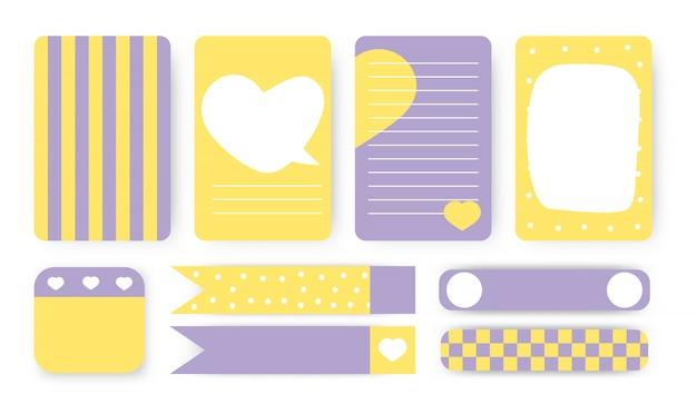 Pour faire la liste, l'autocollant et le ruban adhésif. page de cahier de planificateur mignon. note papier avec coeur abstrait de formes dessinées à la main. carte idéale pour l'organisateur imprimable pour enfants