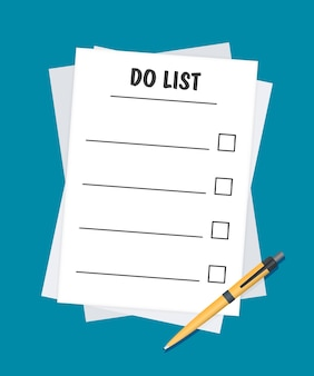 Pour faire la liste ou l'icône de planification concept. toutes les tâches sont terminées. feuilles de papier avec coches, texte abstrait et marqueur. télévision illustration vectorielle isolée sur fond de couleur