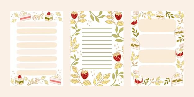 Pour faire la liste, modèles de bloc-notes avec des éléments de gâteau et de fraise dessinés à la main