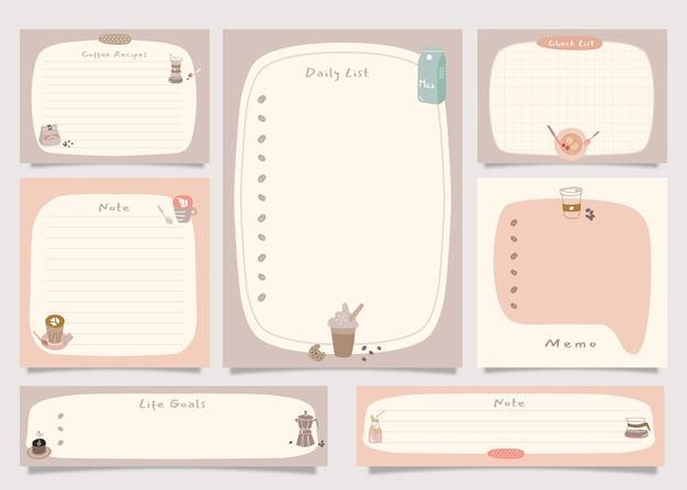Pour faire le pack de notes de liste avec l'illustration du thème du café.