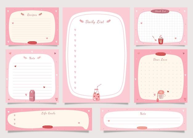 Pour faire le pack de notes de liste avec l'illustration du thème de la saint-valentin.